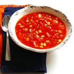 This recipe for Crockpot Tomato Vegetable Soup can be prepared in less than thirty minutes and cooks all day for a delicious and healthy dinner.