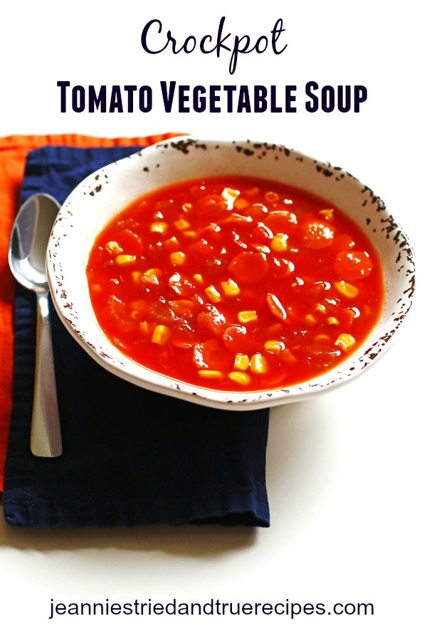 Crockpot Tomato Vegetable Soup in a bowl.