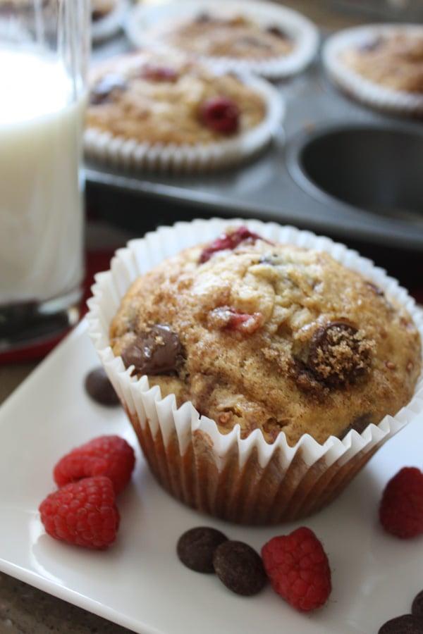 Dark Chocolate Chip Raspberry Banana Jumbo Muffin