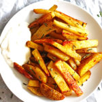 These Baked French Fries are perfectly seasoned and easy to make. Recipe at http://www.jeanniestriedandtruerecipes.com/baked-french-fries/