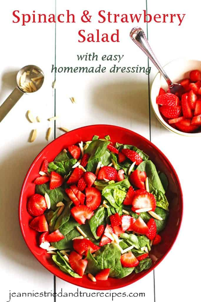 Strawberry Spinach Salad in a red serving dish
