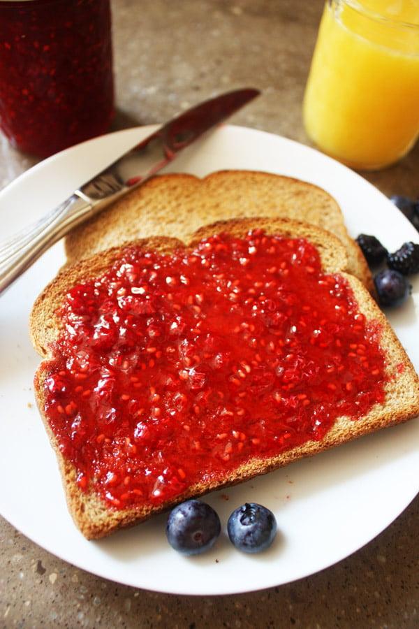 raspberry jam and toast