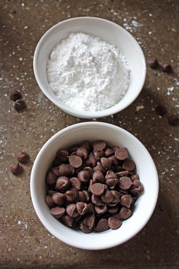 chocolate chips and powdered sugar