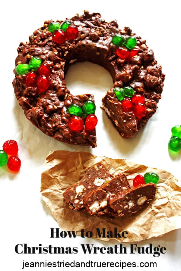 Easy Fudge recipe shaped into a Christmas Wreath is quick and easy to make. It is great to serve as a holiday dessert and it also is a perfect holiday gift. #fudge #easyrecipe #wreath #homemadegifts #christmascookierecipe