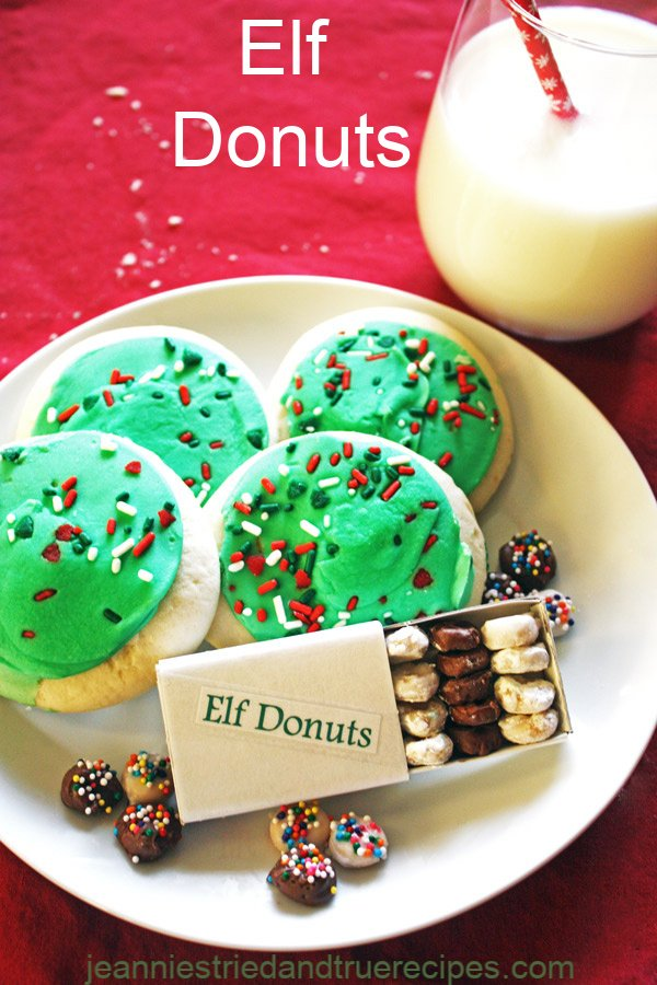 Elf Donuts are a delicious little treat to make for your elf on the shelf that will be visiting at Christmas! Kid friendly to make! #Christmascookies #elfontheshelf #elfdonuts #christmas
