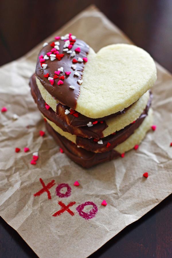 Heart Sugar Cookies with Chocolate