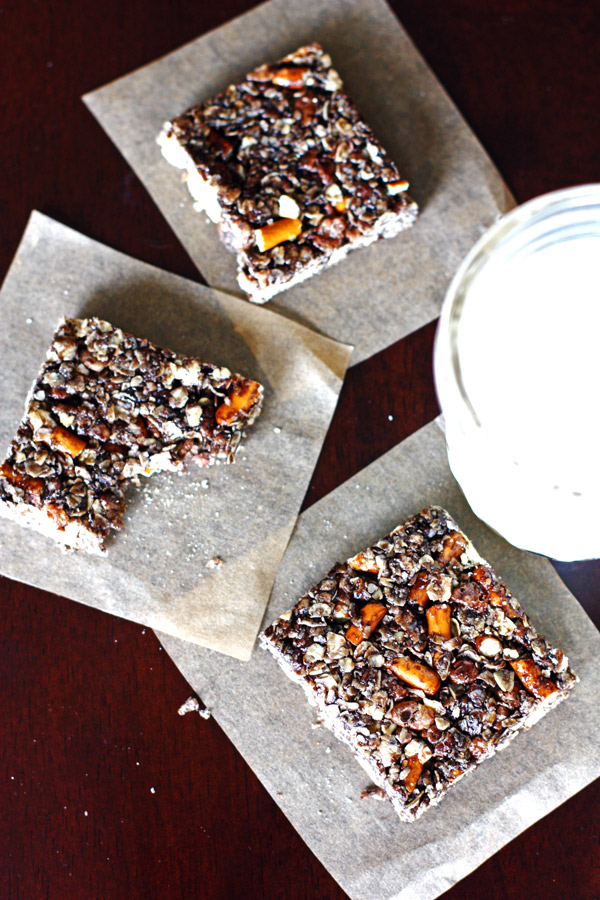 Dark Chocolate Pretzel Granola Bars