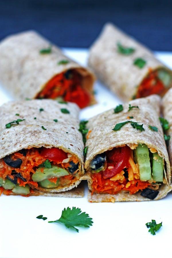 Vegetable Hummus Wraps