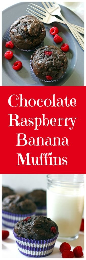 Chocolate Raspberry Banana Muffins