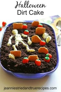 Dirt Cake decorated for Halloween as a graveyard in a baking dish