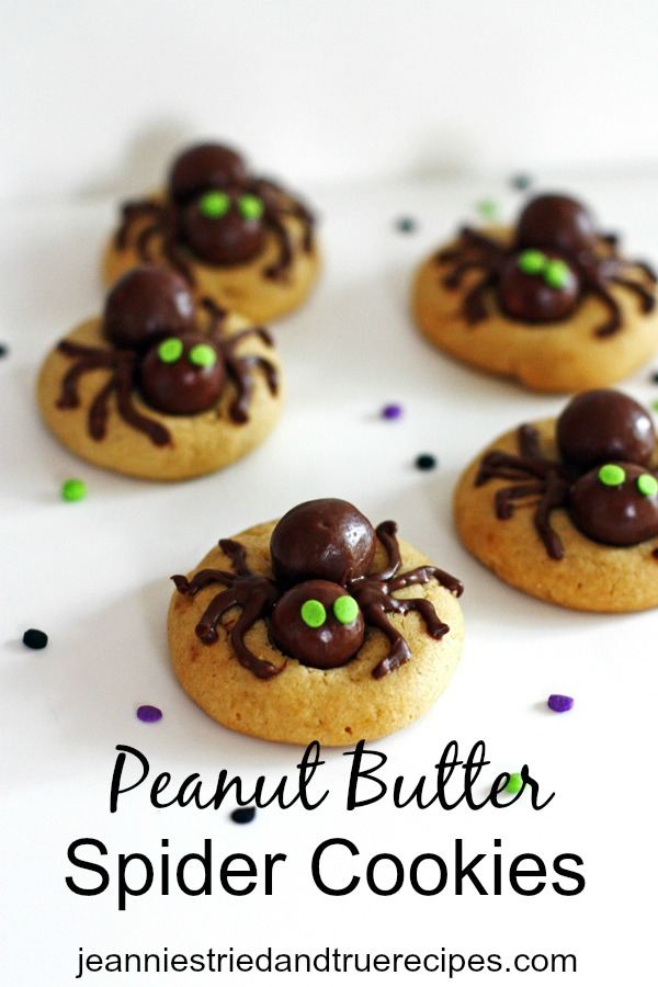 Peanut Butter Cookies with edible spiders on them
