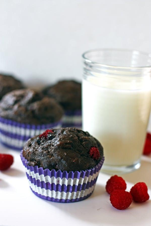 Chocolate Raspberry Banana Muffins