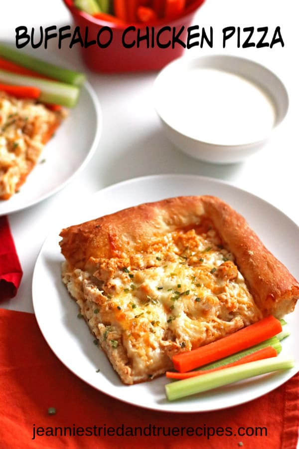 Homemade pizza just got better with this Buffalo Chicken Pizza! If you love Buffalo chicken wings, you will love this pizza. Perfect for watching the game. #superbowlfood #pizzarecipe #buffalochicken #dinnerrecipe