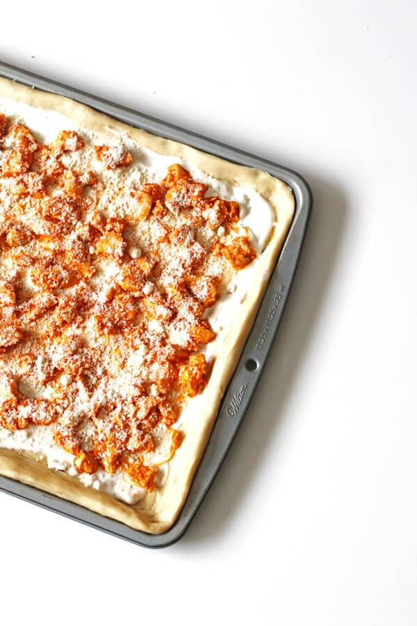 Ingredients for Buffalo Chicken Pizza in baking pan