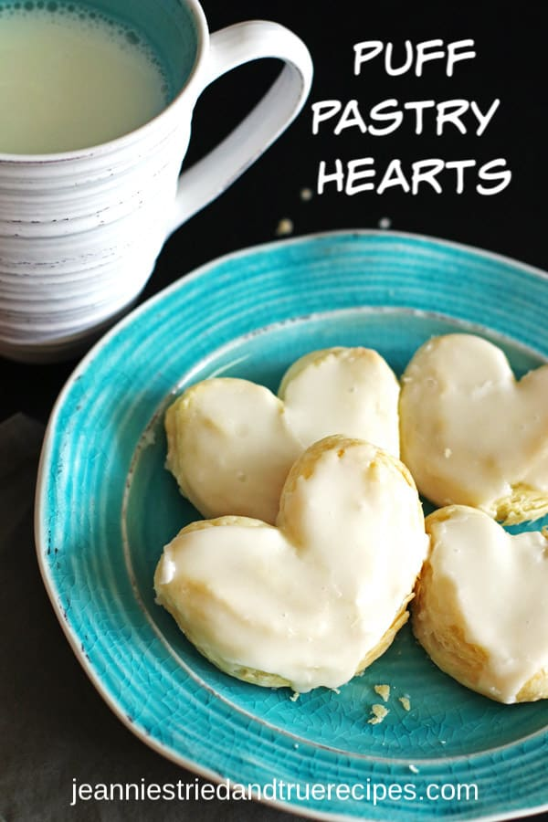 These delicious Puff Pastry Desserts made heart shaped are perfect for Valentine's Day, Mother's Day or Father's Day. Quick and easy recipe is also a nice kid friendly recipe. #easydessertrecipe #pastry #puffpastry #dessert #valentinesday
