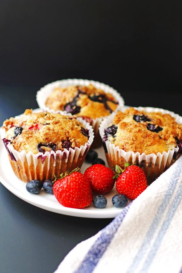 fruit, berries, muffins