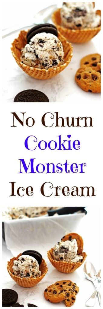 No Churn Cookie Monster Ice Cream
