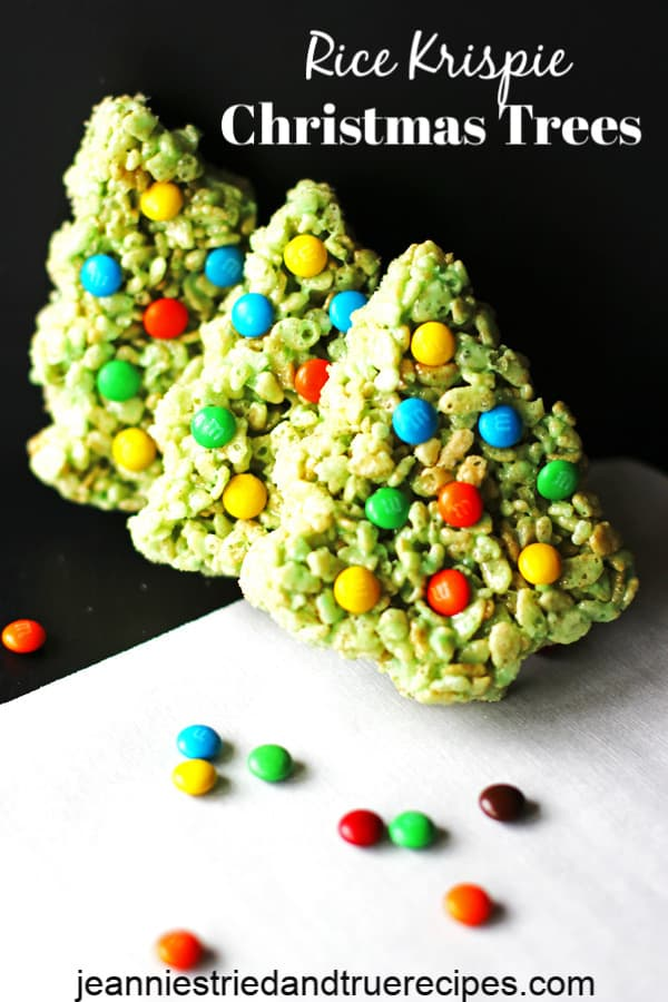 Rice Krispie Christmas Trees are festive Christmas cookies that are a no bake recipe. They are a fun kid friendly recipe also! #Christmas #holidaybaking #easyrecipe #easyholidayrecipe #christmastrees