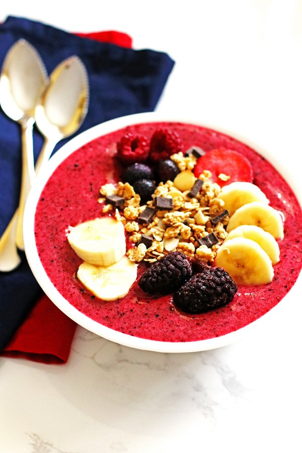This Berry Banana Smoothie Bowl is a great recipe for breakfast or snack. Recipe can be found at Jeannie's Tried and True Recipes.