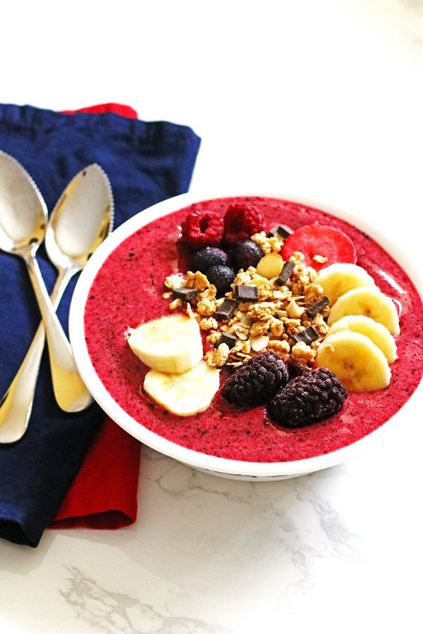 This recipe for Berry Banana Smoothie Bowl is a great breakfast or snack recipe. The recipe can be found at Jeannie's Tried and True Recipes.