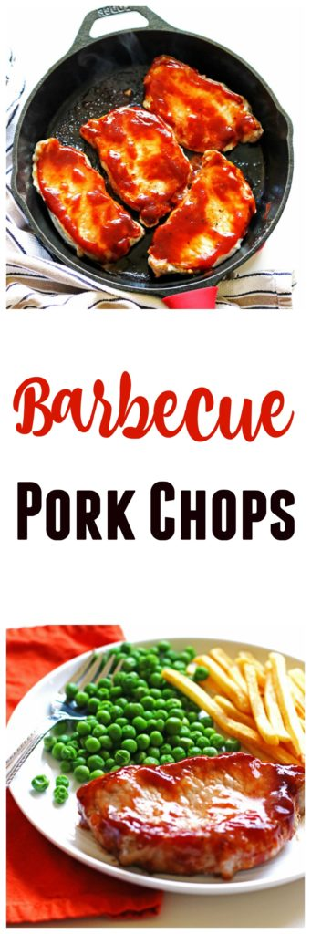 These Barbecue Pork Chops can be made quickly in your cast iron skillet.