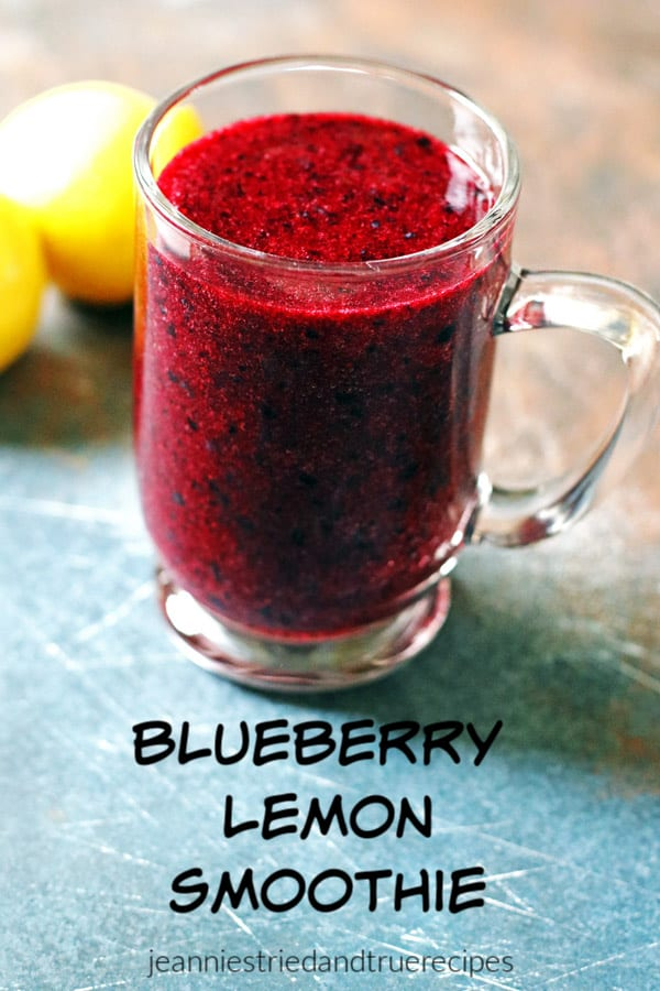 Smoothies are great for breakfast, brunch or a healthy snack. Made with blueberries and lemons, it is full of nutrition for you. #healthy #smoothie #recipe #healthysnack #healthybreakfast