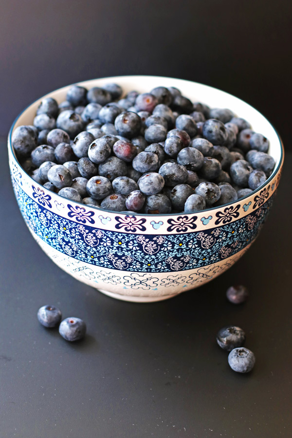 Blueberries in a white and blue bowl