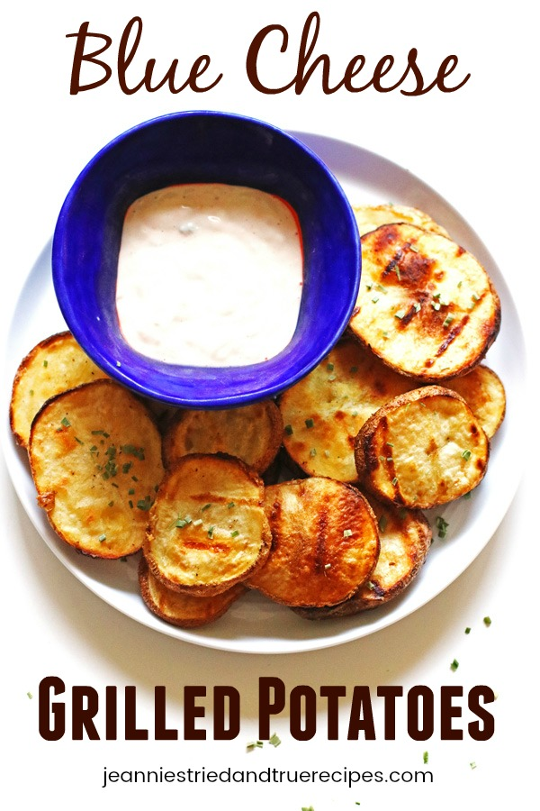 Blue Cheese Grilled Potatoes on a plate with blue cheese dip in a small bowl