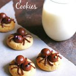 Peanut Butter Spider Cookies and a glass of milk