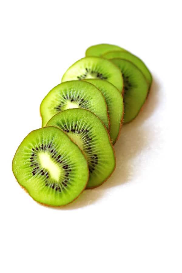 Sliced kiwi on countertop