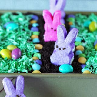 Peep bunnies, candy eggs and shredded coconut as grass on top of Dirt Cake