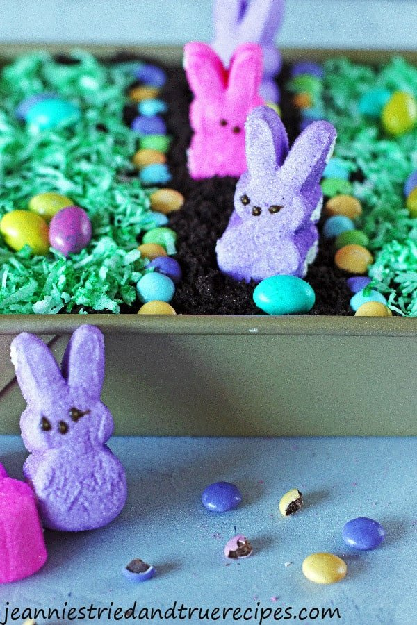 Peep bunnies and egg candy on top of the Dirt Cake with green shredded coconut for grass