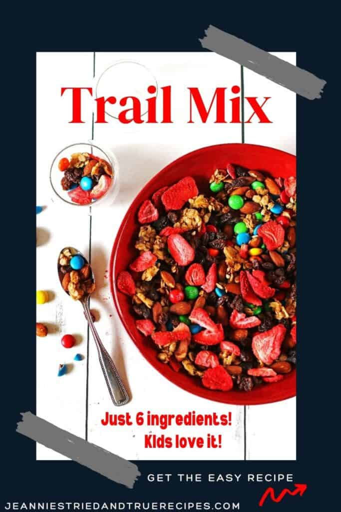 Homemade trail mix in a red bowl